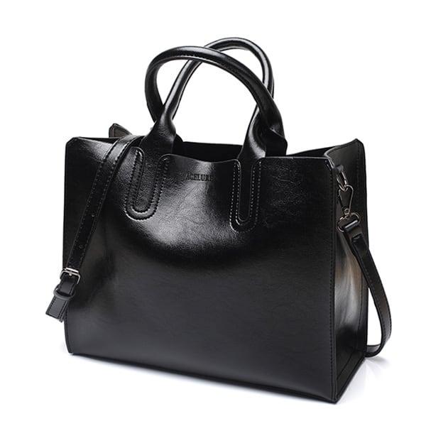 レザーハンドバッグビッグ女性バッグ高品質カジュアル女性バッグトランクトートスペインブランドショルダーバッグ black