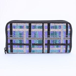 ビーズ刺繡 長財布 (#145 チェックブルー)