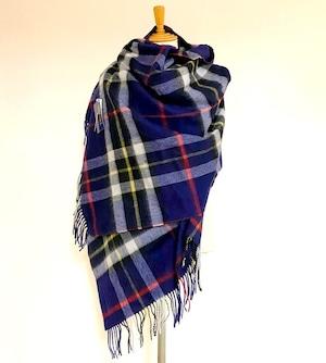 【TWEEDMILL】Lambswool Blanket Stole with Pin(Knee Rug) Tartan Navy Dress Thompson