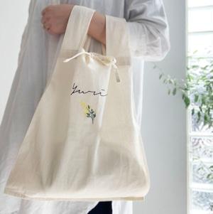 【名入れ】ミモザ刺繍 コットンバッグ (ナチュラル)