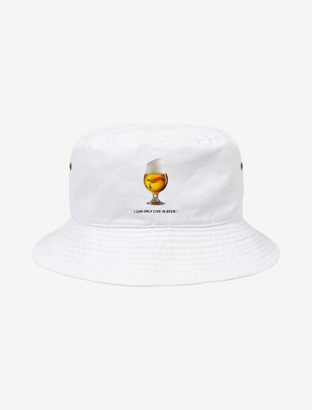 【ビールの中でしか・・・ウミガメ】バケットハット(ホワイト)