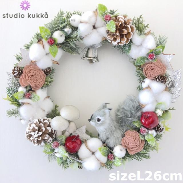 送料無料 直径26cm♡木の実とコットンのリース  リスときのこミックス クリスマス ローズ ベリー