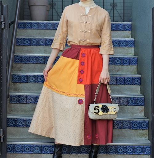 .i.S ISSEY MIYAKE PATCH WORK OVER SKIRT MADE IN JAPAN/イッセイミヤケパッチワークオーバースカート2000000055855