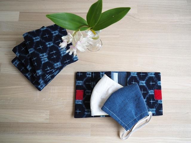 マスク2枚とマスクケースのセット--藍の久留米絣とデニム調ダンガリー プレゼントにもおすすめ!