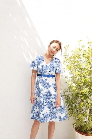 flare sleeve flower dress