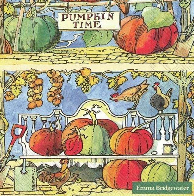 【Emma Bridgewater】バラ売り2枚 ランチサイズ ペーパーナプキン PUMPKIN TIME オレンジ