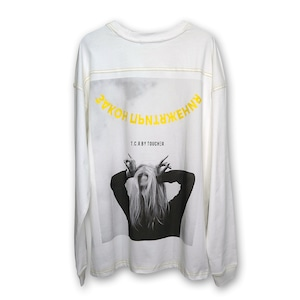 OVERSIZED ATTRACTION PHOTO L/S TEE - WHITE/YELLOW