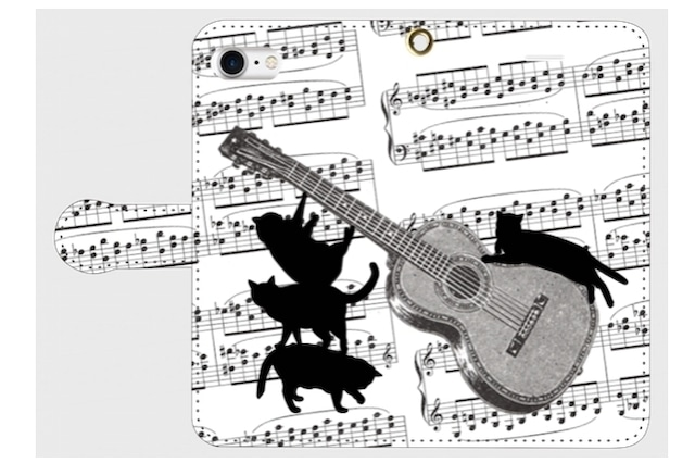 (iPhone用)ギターと黒猫の手帳型スマホケース