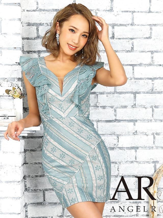 【 AngelR】デザインレースフリルスリーブタイトミニドレス(AR9229)
