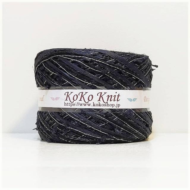 §koko§ 月影の花 ~シルバー~ 1玉61 g以上 約87m以上 リボンフラッグヤーン テープヤーン シルクウール 引き揃え糸