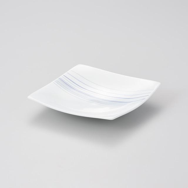 【中仙窯】白磁 四方上がり線刻皿(日本工芸会正会員 中尾 恭純作)