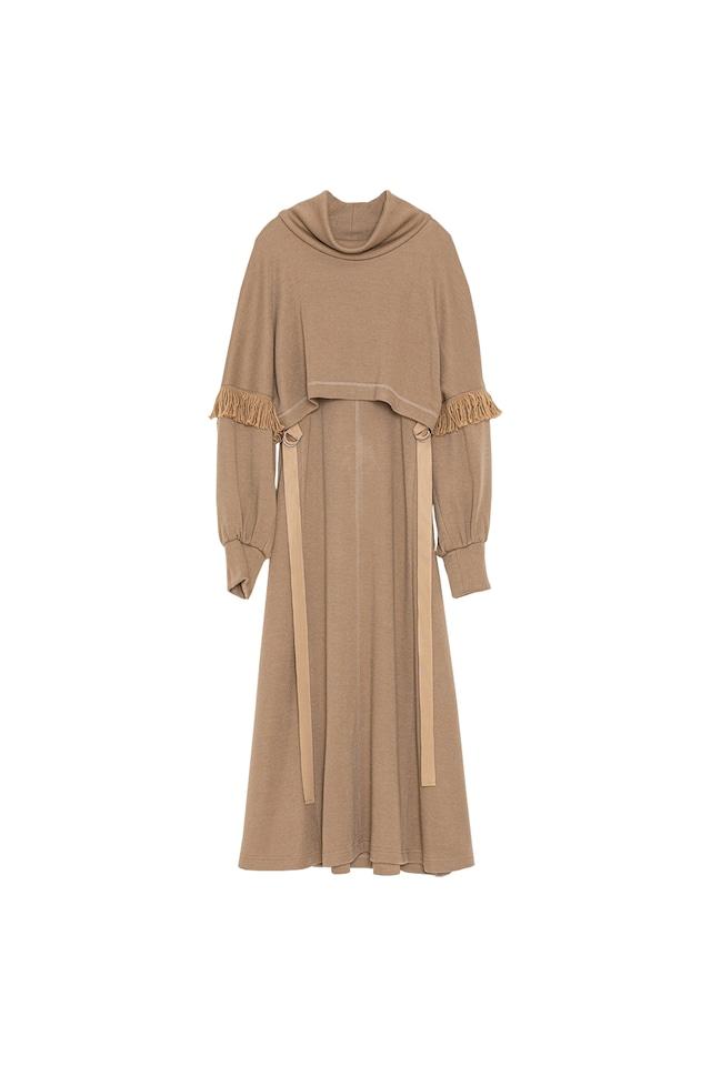 フリンジスリーブニットドレス< camel >