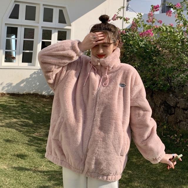 【アウター】韓国風ファッション スウィート ロング  スエード 無地 ジッパー ジャケット53584139