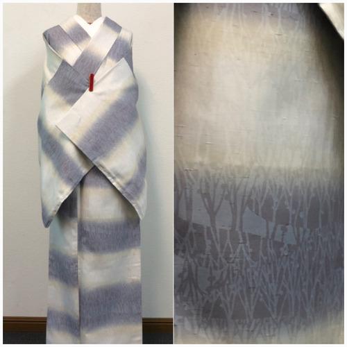 ★美品 小紋 牛首紬  裄68.5 巾あり 未使用 ワイド ★ c3302