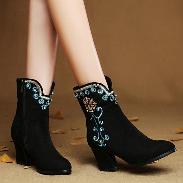 【天賜繡シリーズ】★刺繍靴★ ブーツ サイズ34-40 民族風靴 チャイナ風靴 シューズ ハイヒール ブラック 黒い