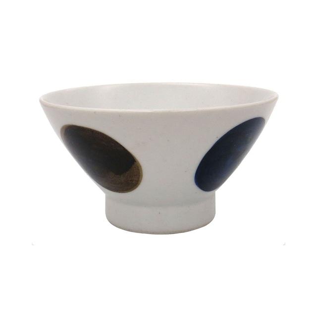 波佐見焼 24to3 和山窯 くらわんか 飯碗 茶碗  約12cm 青丸紋 445979
