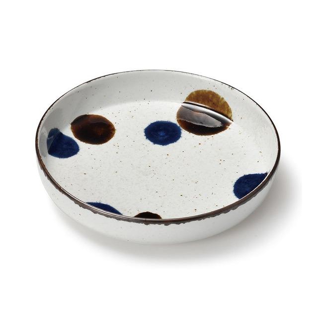 aito製作所 「るり玉 Dots of Ruri」取り皿 深皿 大 約20cm グレー 美濃焼 288086