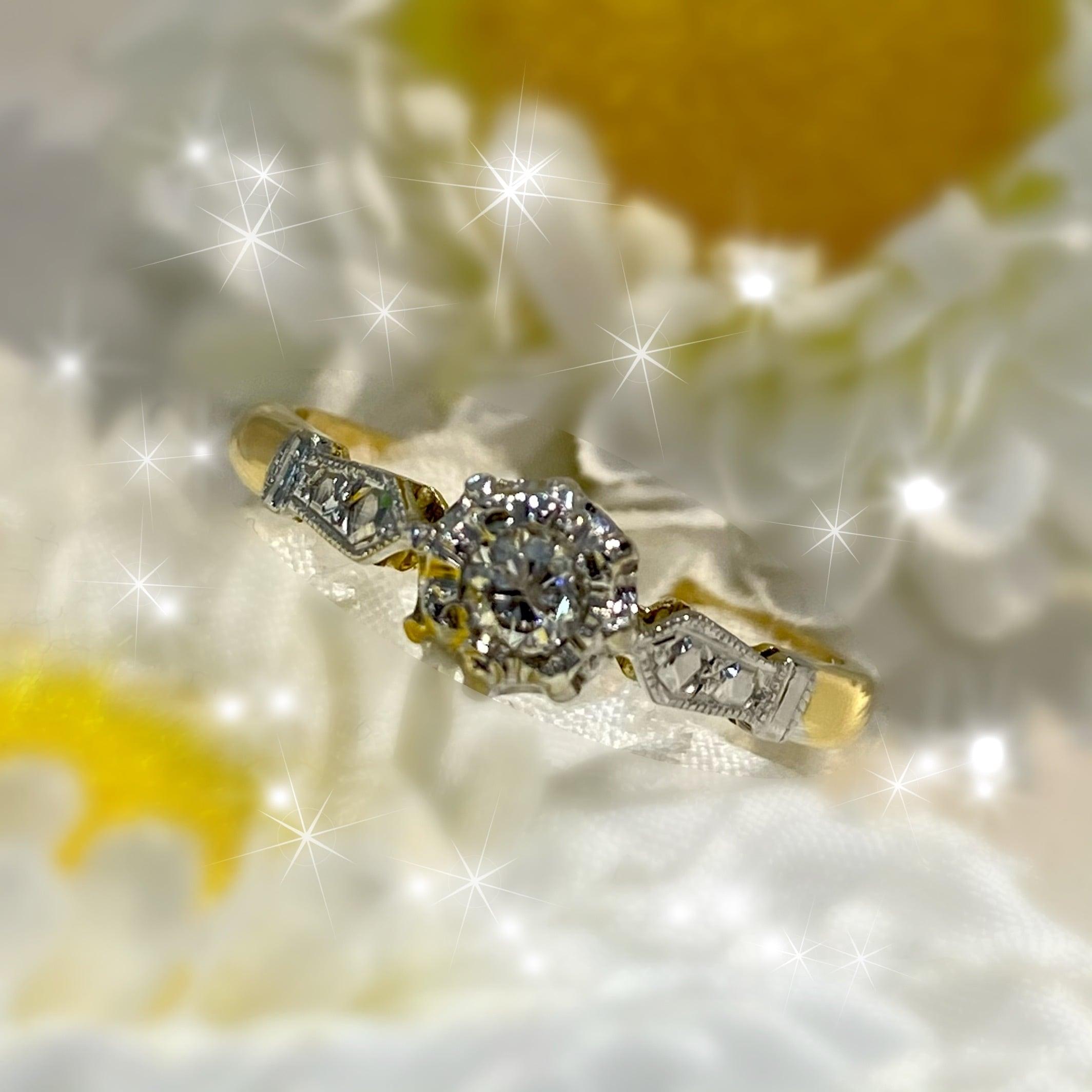 イギリス1967年ヴィンテージリング K18 k18WG 指輪 ダイヤモンド