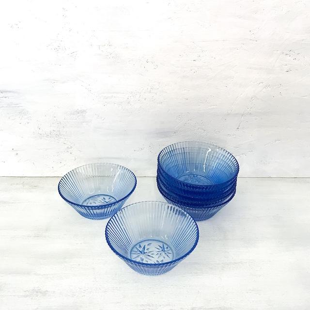 【R-619】ガラス青星柄デザートボウル