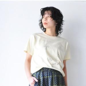 【denicher】6.2oz 線画プリント Tシャツ
