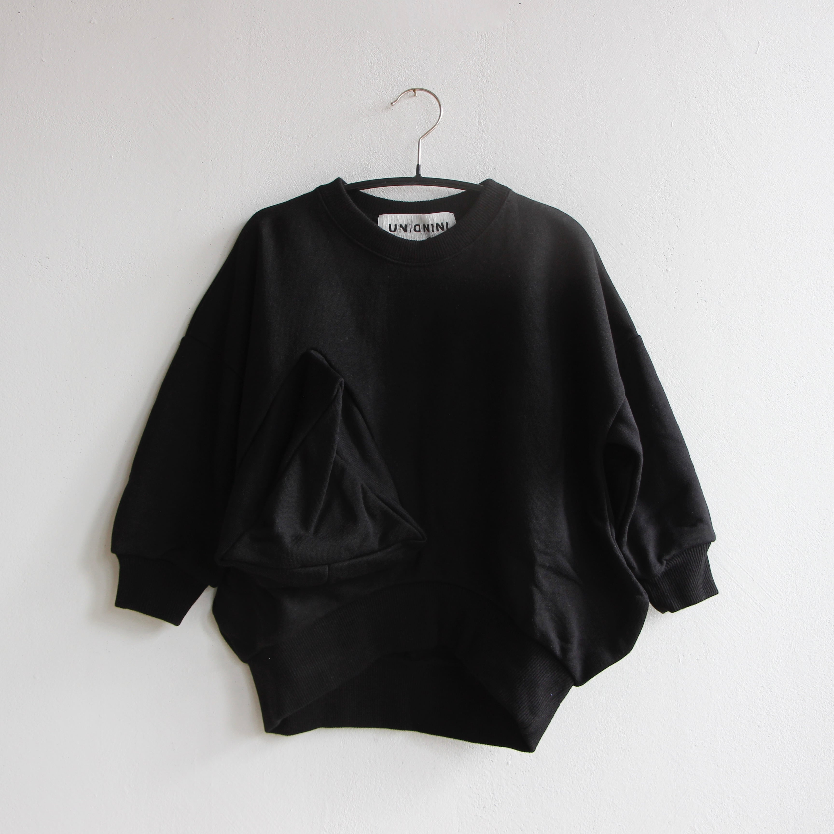 《UNIONINI 2021AW》◯△ sweat shirt / black / 1-12Y