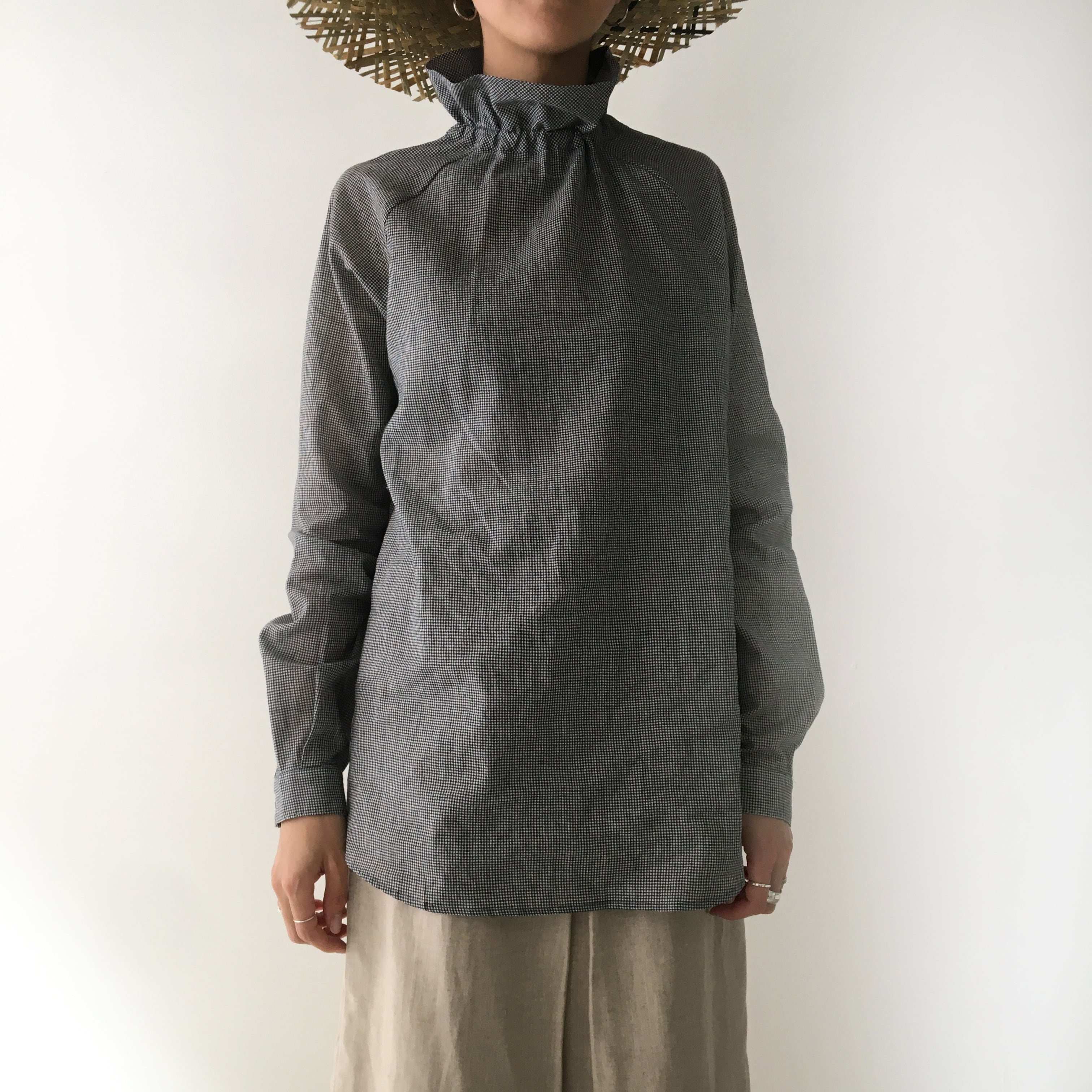 "High neck gater blouse, ""black  pin check"""