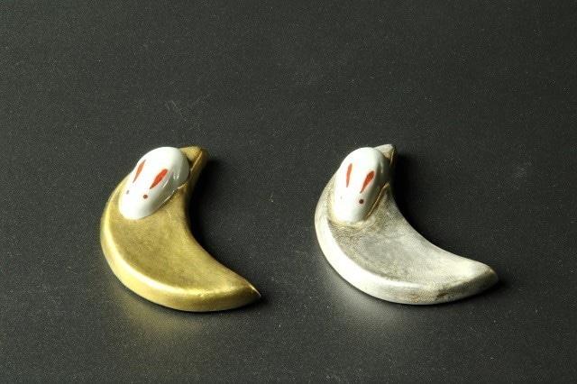 金銀月うさぎペア箸置 清水焼
