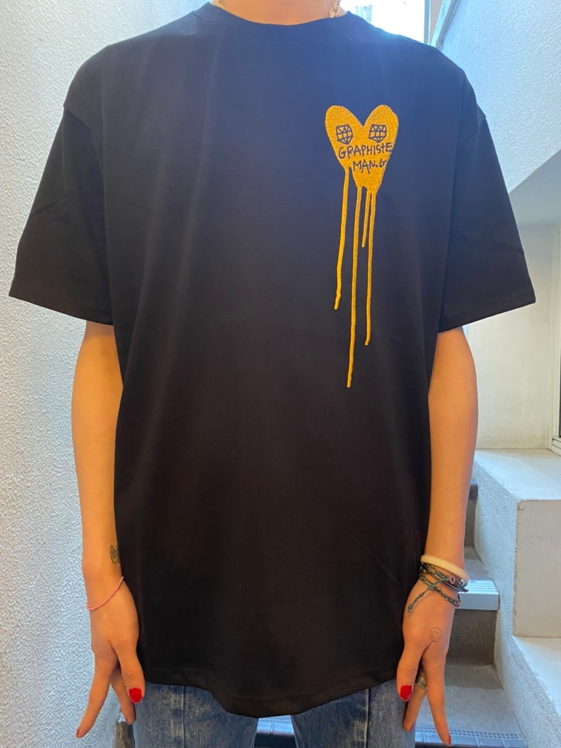 【MAN-G】フロントハート刺繍Tシャツ