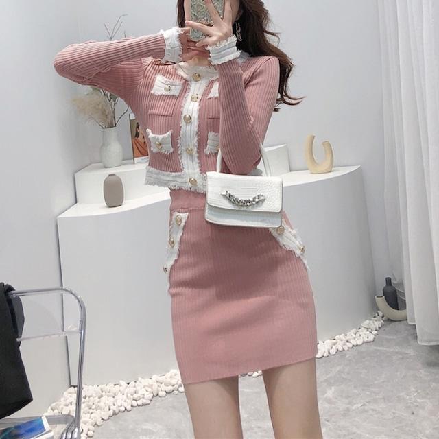 セットアップ ニット トップス+スカート 長袖 エレガント 気質 ピンク ブラック ホワイト
