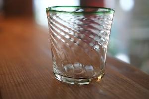 【カンナカガラス工房◆村松学】◆◆モールタンブラー<口巻緑>◆◆