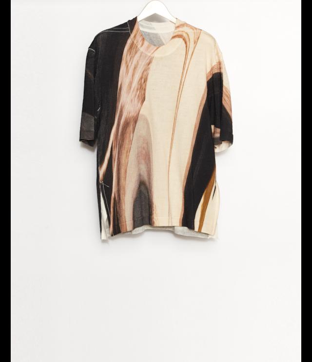 Printed Knit T-Shirt / Brown