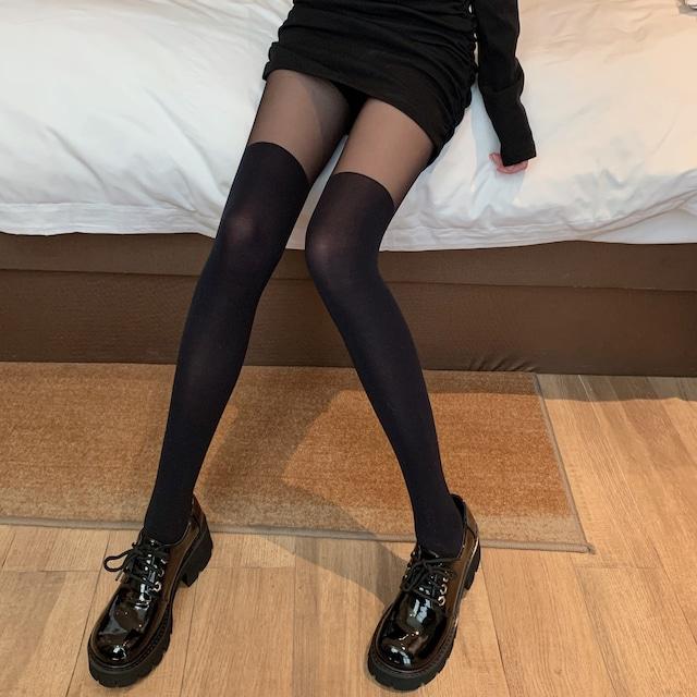 【ストッキング】気質満点 ファッション セクシー 切り替え 無地ガードル・ストッキング41646311
