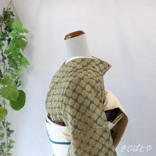 正絹紬 橄欖(かんらん)の蜘蛛絞り 袷