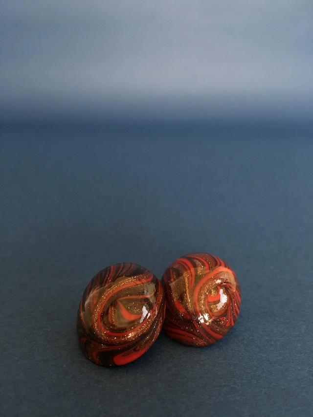 Venetian Glass Earrings-Oval Marble