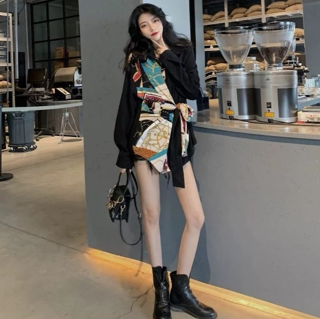 【トップス】ファッション民族風切り替えロングシャツ42918250