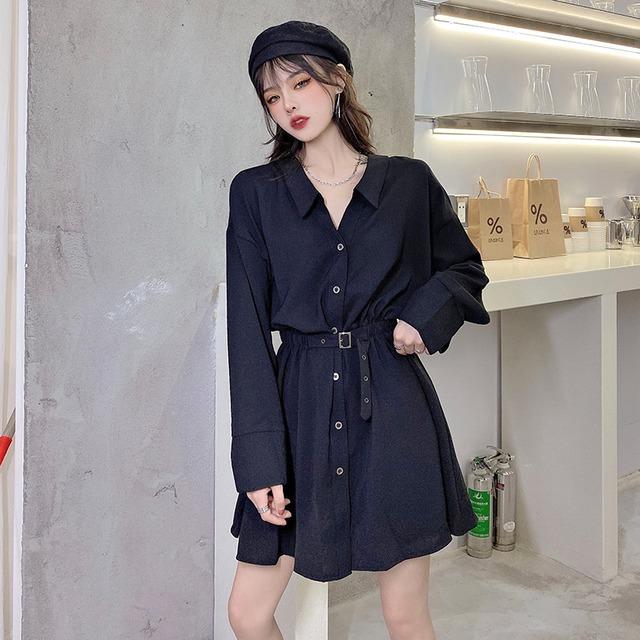 【ワンピース】韓国系長袖VネックAラインシャツワンピース34572509