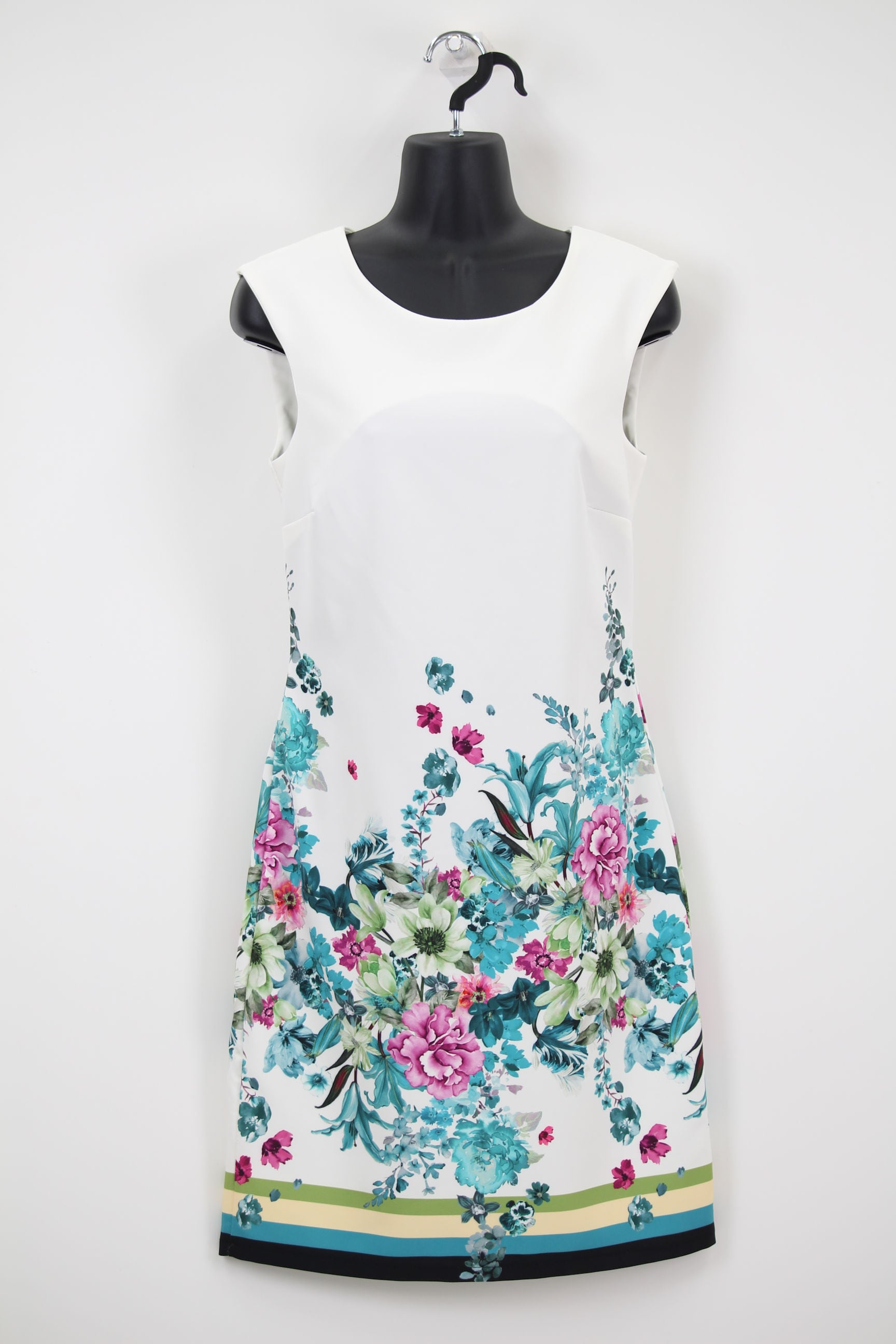 白×裾グリーン花柄ワンピース
