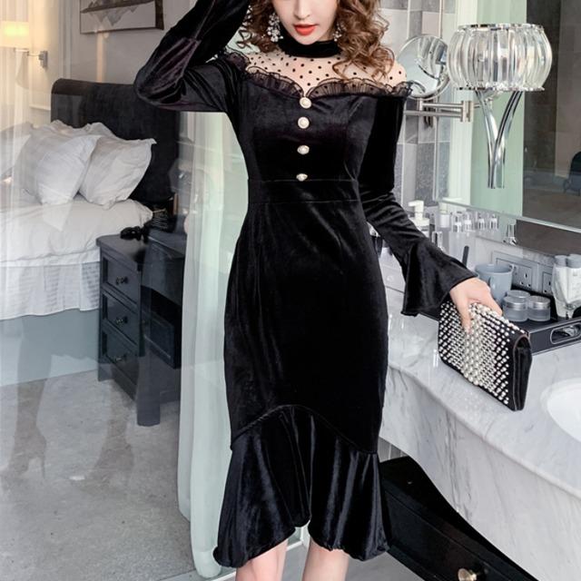 マーメイドドレス ブラックワンピース ドット シースルー パーティードレス 膝丈 透け感 セクシー タイト