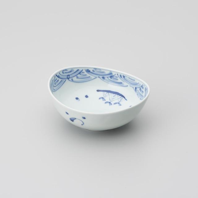 【青花】帆船と長崎紋楕円盛鉢 取り分け小鉢