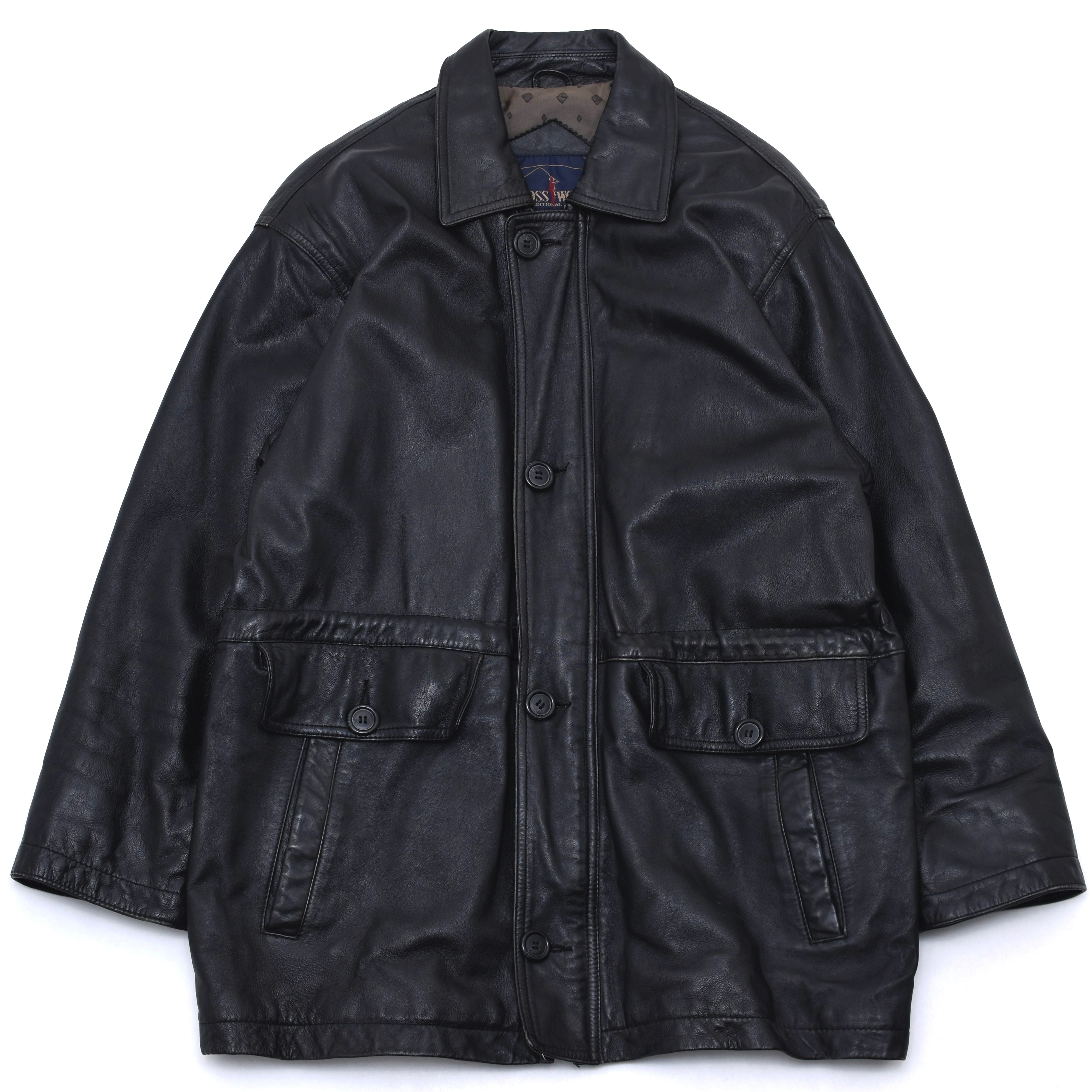 Black lamb leather coat