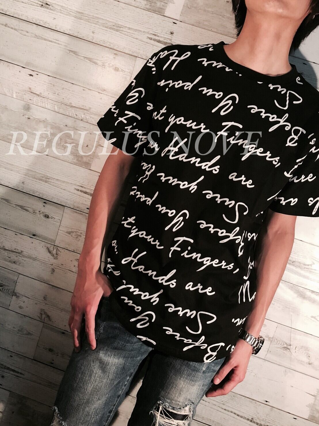 REGULUS NOVE  ランダムメッセージプリントBIGTシャツ BLACK ユニセックス レディース メンズ オーバーサイズ 大きいサイズ 派手 韓国 プリント 個性的 ストリート ロック