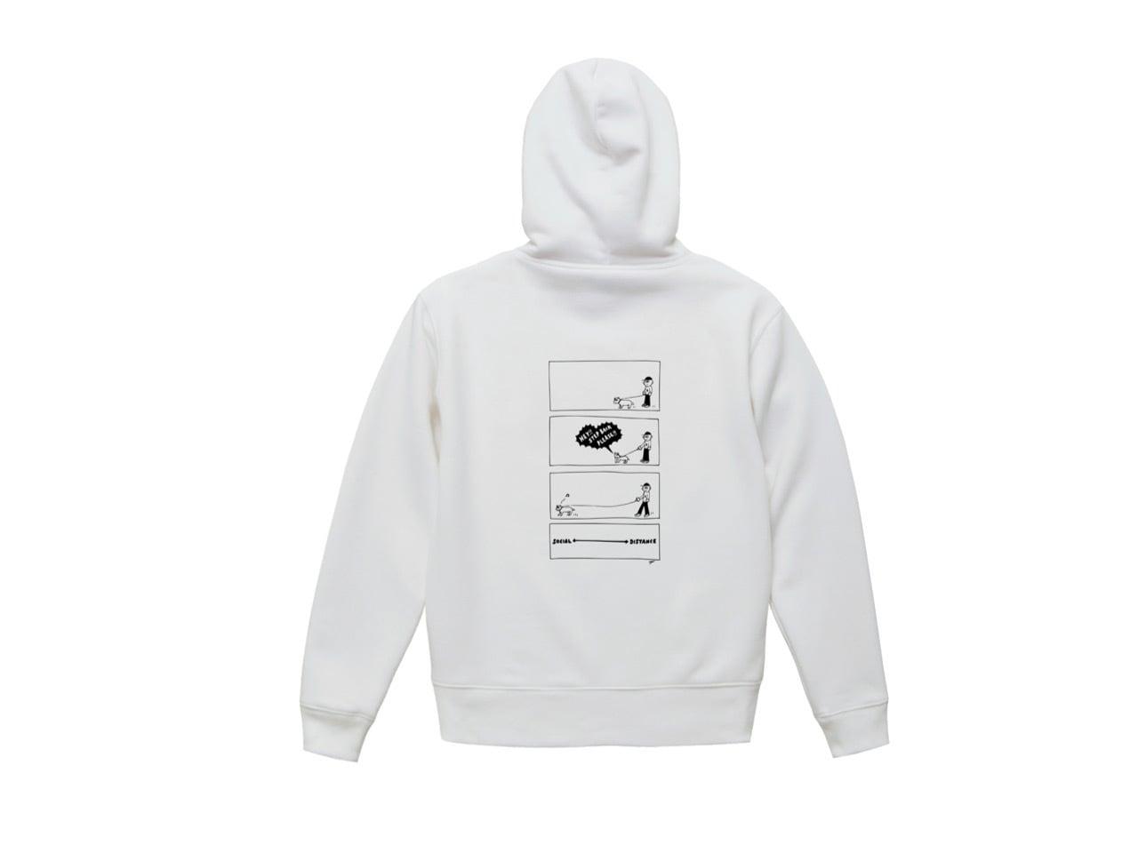 SHI × coguchi Dog SD hoodie (WH/BLK)