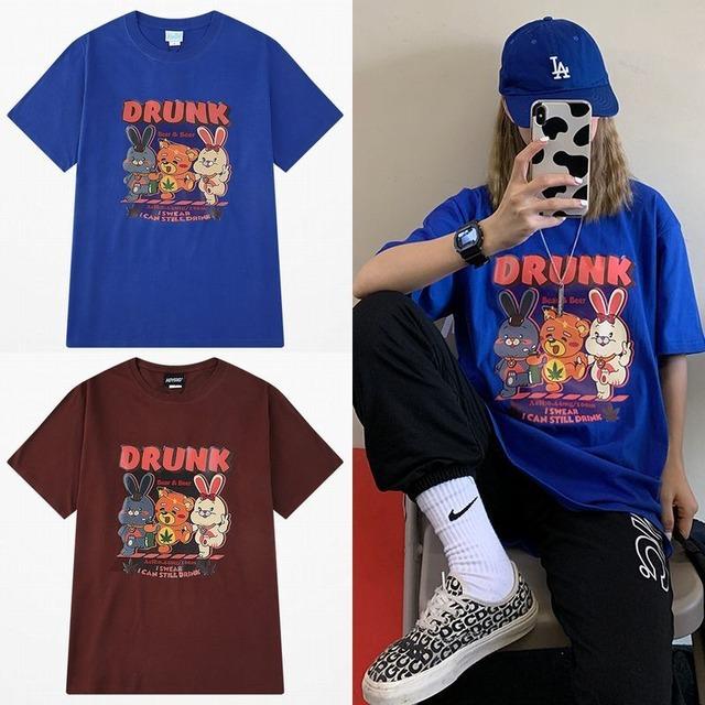 ユニセックス Tシャツ 半袖 メンズ レディース 酔っぱらいアニマル プリント オーバーサイズ 大きいサイズ ルーズ ストリート TBN-613834011285