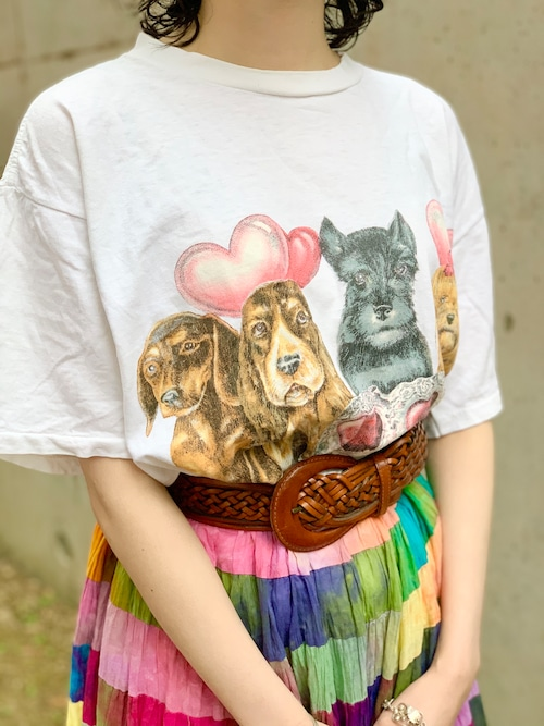 Vintage Dogs Print T Shirt Made In USA