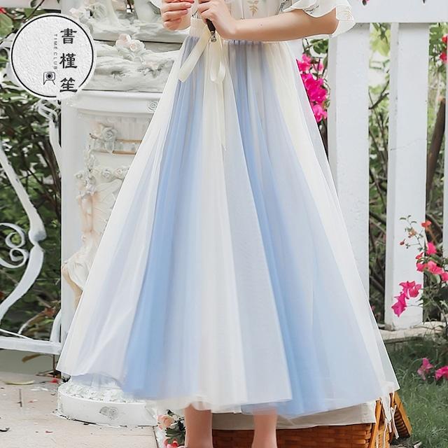 【書槿笙シリーズ】★スカート★ 2color 配色 ロング丈 可愛い 合わせやすい ブルー 青い ピンク S M L XL