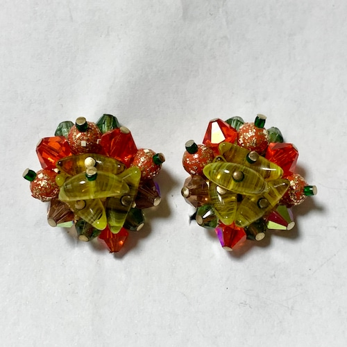 Vintage Multi Color Cluster Earrings ①