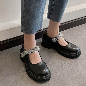パンプス レディース メリージェーン 黒 ロリータ シューズ 靴 厚底 ミディアムヒール コスプレ靴  LOLITA レザーシューズ 革靴7403
