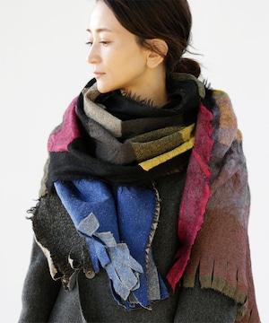 《1位獲得・雑誌掲載》【AKARI】ウールガーゼ 大判ストール ブラック ショール◎とっても軽くてやわらかい 秋冬から春先まで◎