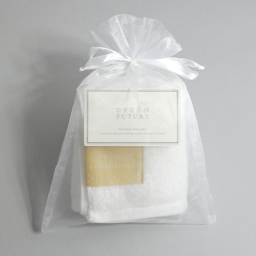 無撚糸(むねんし)高級Face Towel Star White(純白のやすらぎ) オーガンジー巾着入り