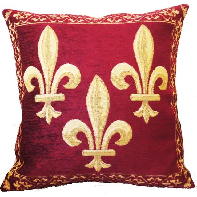 Fleur de Lys  百合の紋章・赤 ゴブラン織りクッション♪